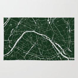 Paris France Minimal Street Map - Forest Green Rug