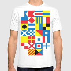 International Alphabetical Marine Signal Flags MEDIUM Mens Fitted Tee White