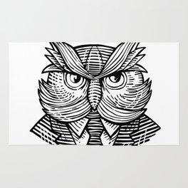 Hip Wise Owl Suit Woodcut Rug