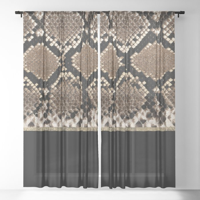 Modern Black Brown Gold Snake Skin, Black And Brown Curtains