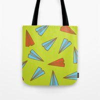 planes Tote Bags featuring Paper Planes by evannave