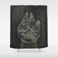 falcon Shower Curtains featuring Millennium Falcon by LindseyCowley
