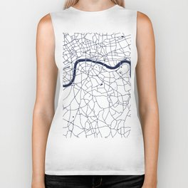 London White on Navy Street Map Biker Tank