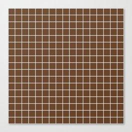 Van Dyke brown - brown color - White Lines Grid Pattern Canvas Print