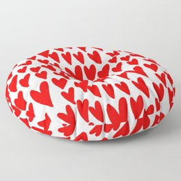 Hearts red and white love valentines day heart pattern minimal Floor Pillow