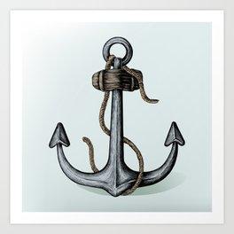 Nautical Blue Anchor Art Print