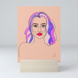 Pink is my favourite colour - single line drawn portrait with coloured pencils Mini Art Print