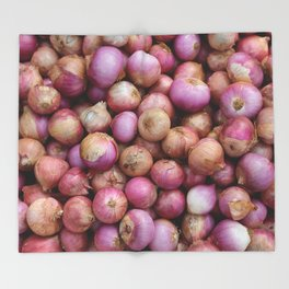 Food Illustration Onions Throw Blanket