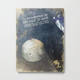 Men walk on Moon Astronauts Metal Print