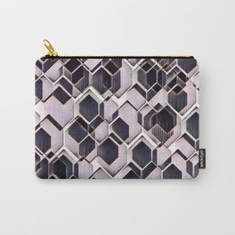 blue grey purple black and white abstract geometric pattern Carry-All Pouch
