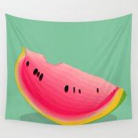 watermelon Wall Tapestries featuring watermelon by Britt Mansouri
