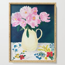 Peonies at Spring's End Serving Tray