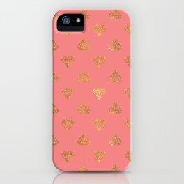 Elegant modern coral faux glitter diamond pattern iPhone Case