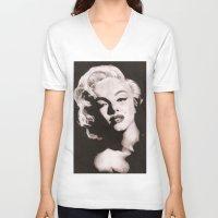 monroe V-neck T-shirts featuring Monroe by Juliana Marie