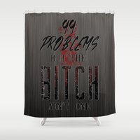 2pac Shower Curtains featuring 99 problems by Gold Blood