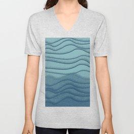 Ocean Mist - Minimalist Waves Blue Teal Unisex V-Neck