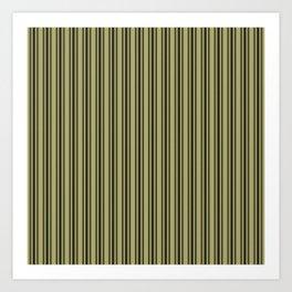Large French Khaki Mattress Ticking Black Double Stripes Art Print