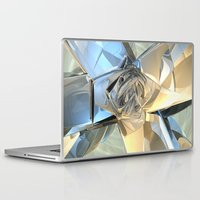 bands Laptop & iPad Skins featuring Blue And Beige Bands by Phil Perkins