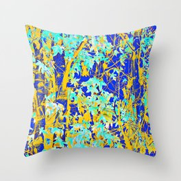green maple tree leaf with blue and yellow abstract background Throw Pillow