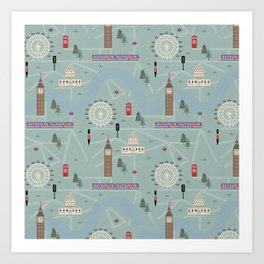 London Map Print Illustration Art Print