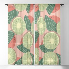 Watermelons and kiwis Sheer Curtain