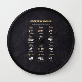 Coffee type and Zodiac sign #4 Wall Clock