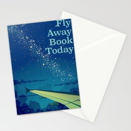 Fly Away Book Today vintage flight poster Stationery Cards