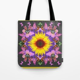 YELLOW SUNFLOWER LILAC BUTTERFLIES ABSTRACT Tote Bag