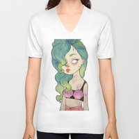loll3 V-neck T-shirts featuring sea queen by lOll3