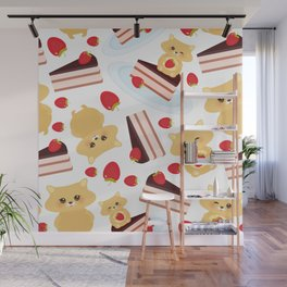 attern cute kawaii hamster with fresh Strawberry, cake decorated pink cream and chocolate Wall Mural