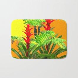 CONTEMPORARY FERNS & BROMELIADS YELLOW-ORANGE MODERN ART Bath Mat
