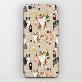 Australian Shepherd blue and red merle wine cocktails yappy hour pattern dog breed iPhone Skin