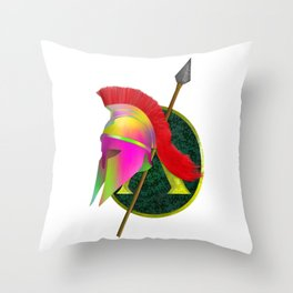Spartan Helmet Colorful Throw Pillow