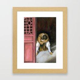 praying chinese monk Framed Art Print