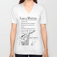 writer V-neck T-shirts featuring I Am A Writer by Yukikochild