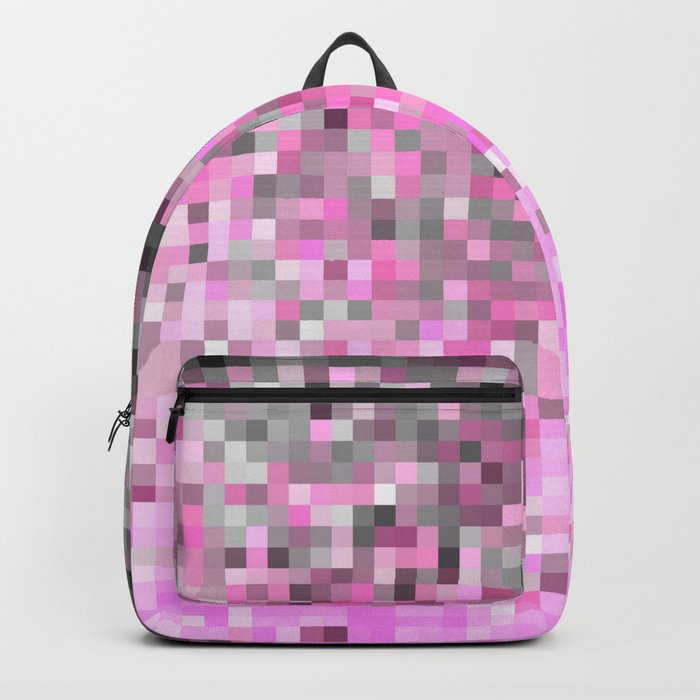 Pink Gray Ombre Pixels Backpack