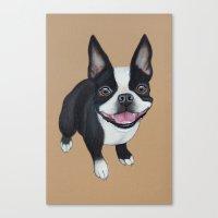 boston terrier Canvas Prints featuring Boston Terrier by PaperTigress
