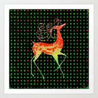 reindeer Art Prints featuring Reindeer by Saundra Myles