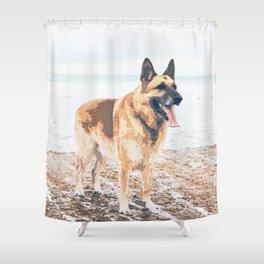 Long Tongue German Shepherd Dog On The Beach Shower Curtain