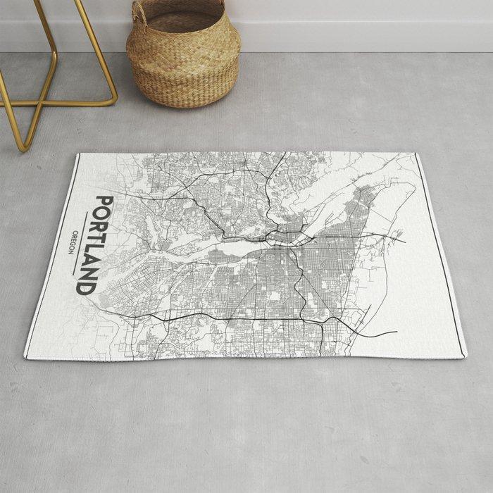 Minimal City Maps - Map Of Portland, Oregon, United States Rug by valsymot