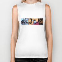 calendars Biker Tanks featuring Pop Art Pin-Up girl in the car shop wall by Sofia Youshi