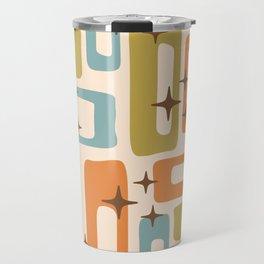 Retro Mid Century Modern Abstract Pattern 922 Orange Olive Blue Travel Mug