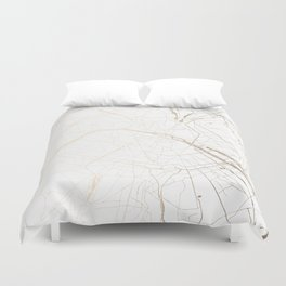 Paris Gold And White Street Map Duvet Cover
