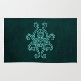 Intricate Teal Blue Octopus Rug