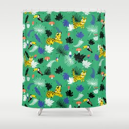 Tropical leaves, Rainforest tigers and toucans Shower Curtain