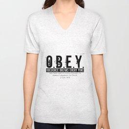 O.B.E.Y. (Obedience Breaks Every Yoke) Unisex V-Neck