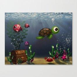 Aquatic scene, turtle and fish children illustration Canvas Print