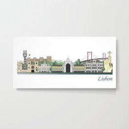 Lisbon skyline colored Metal Print