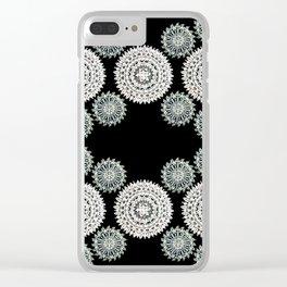 Silver and Black Mandala Circles Clear iPhone Case
