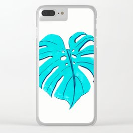 Monstera leaf in turquoise blue Clear iPhone Case